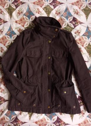 Ветровка парка тренч пальто коричневого цвета с высоким воротн...