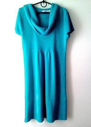 Бирюзовая вязанная туника, платье вязаное бирюза