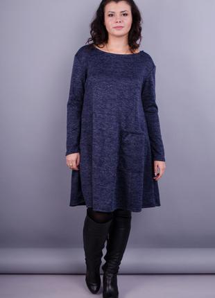 Размеры 50-64! Платье ангора меланж синее, большой размер