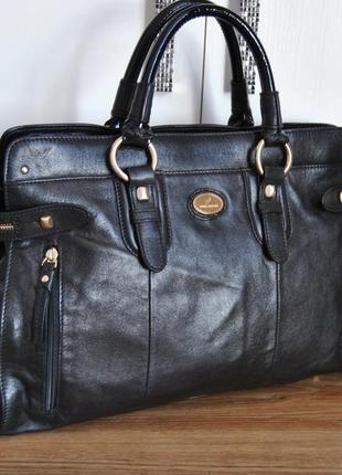 Кожаная деловая сумка daniel hechter / шкіряна сумка