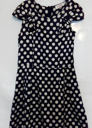 Легкое летнее платье в горошек, мини, шелк. хлопок, louche