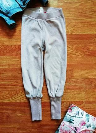 Детские велюровые спортивные пудровые штаны - рост 98-104 см