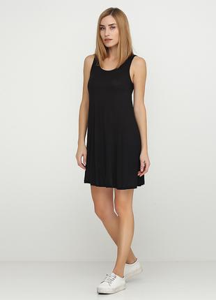 Черное летнее платье короткое Terranova однотонное вискоза