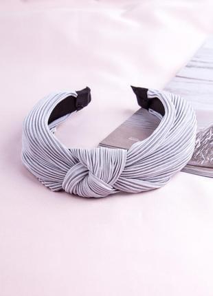Женский серый обруч-чалма гофре для волос