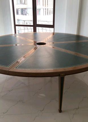 Срочно!!!   Дубовый стол с кожеными вставками