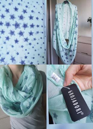 Новый коттоновый снуд шарф бирюзовый со звездами