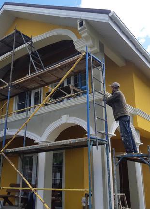 Нанесение декоративных штукатурки. Покраска фасадов.