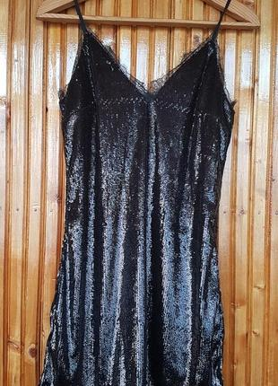 Платье сарафан h&m в пайетки, с кружевом