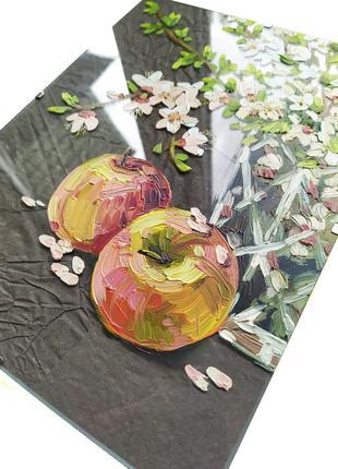 """Картина маслом на стекле  """"Детали весны"""""""