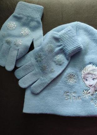 Шапка перчатки комплект elsa