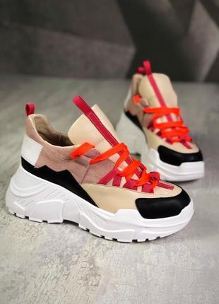 Кожаные замшевые кроссовки на массивной подошве