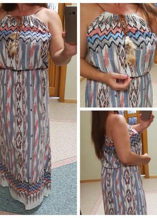 Натуральный длинный сарафан (платье) на бретелях airisa