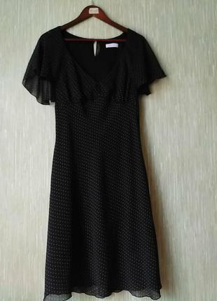 Платье шифоновое в мелкий горошек