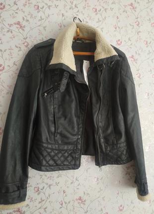Куртка кожанка косуха кожаная с мехом
