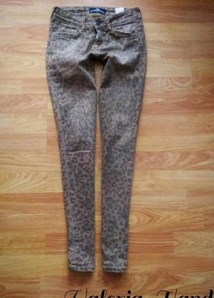 Детские актуальные леопардовые джинсы - скинни - возраст 10-11 л