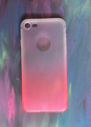 Матовый, градиентный силиконовый чехол для iPhone 7