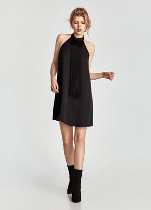 Черное коктейльное платье трапеция zara