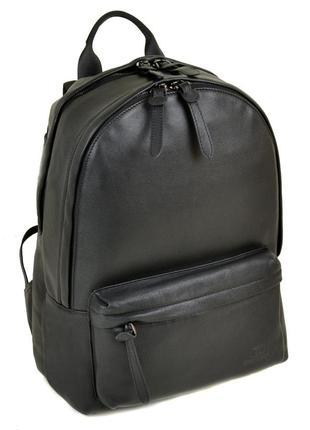 Большой мужской кожаный черный рюкзак