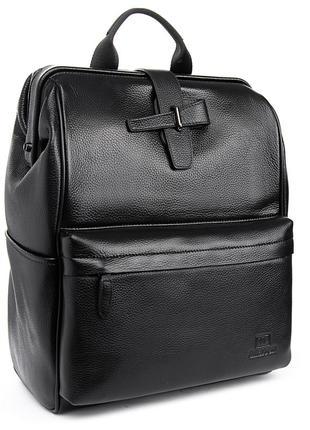 Большой мужской черный кожаный рюкзак