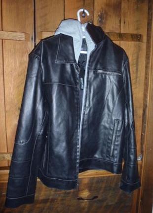Кожаная куртка Kenneth Cole с капюшоном из США НОВАЯ