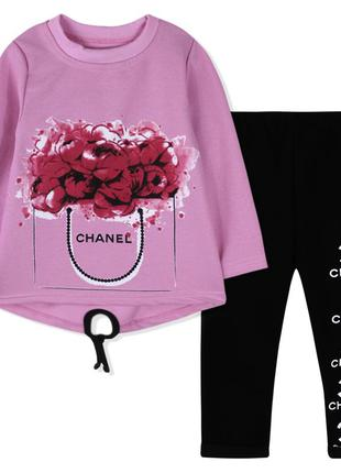 Костюм для девочки, розовый. шанель.