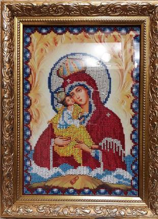 Икона Почаевская Божья Матерь вышита бисером