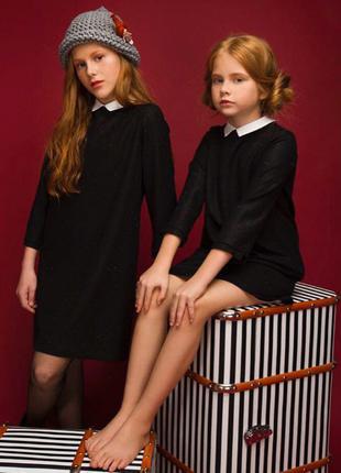 Чёрное платье с воротничком