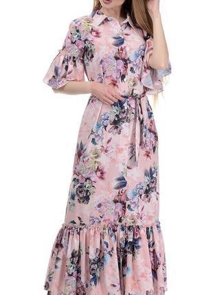 Длинное летнее платье «в пол» на пуговицах.