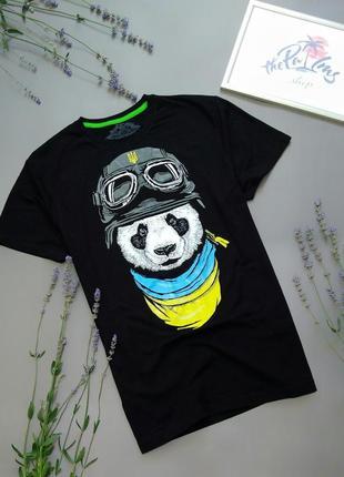 Футболка панда-патриот черная хлопок xxl