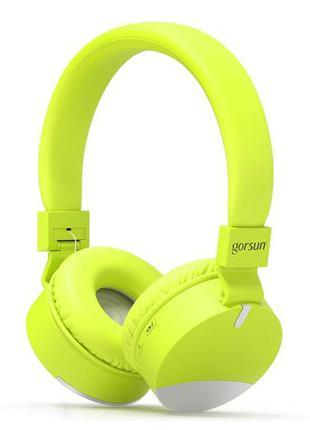 Беспроводные Bluetooth наушники Gorsun GS-E86 Micro SD Салатовый