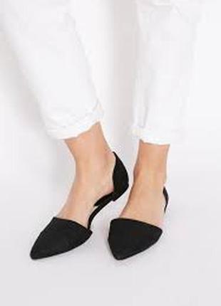 Туфли полуоткрытые балетки 24см 24.5см натур.кожа замша mango