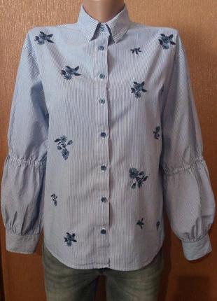 Блузка рубашка в полоску с вышивкой свободный стиль размер 8 p...