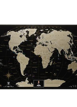 Скретч карта мира My Map Black edition Gold (англ. язык) в тубусе