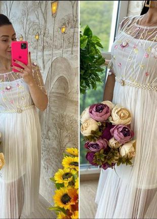 Миди платье сетка фатин вышивка цветы