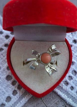 Кольцо серебро советское ссср 925 проба коралл московский ювел...