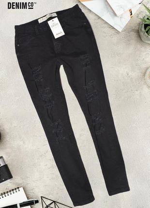 Черные узкие джинсы с разрезами denim co