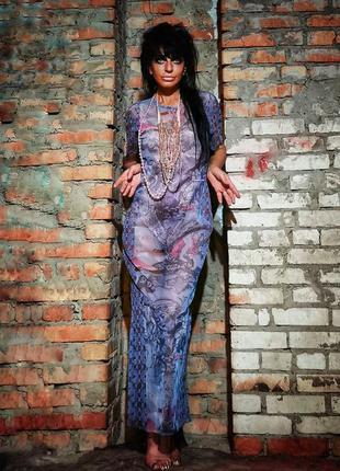 Платье сетка прозрачное макси длинное прямое пляжное в принт у...