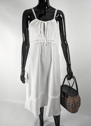 Летний сарафан белое платье в пол с кружевом