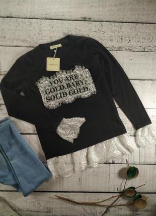 Нарядный свитер джемпер черный с кружевом