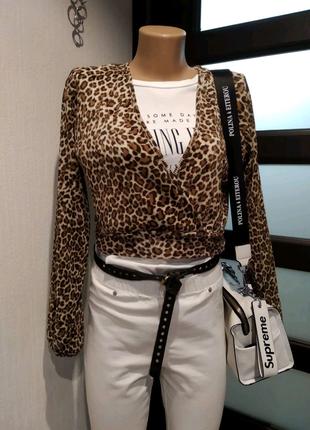 Микрогофре леопардовая блузка рубашка кофточка болеро накидка кар