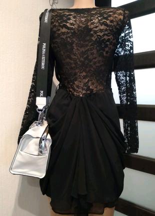 Стильное гипюровое чёрное вечернее платье мини