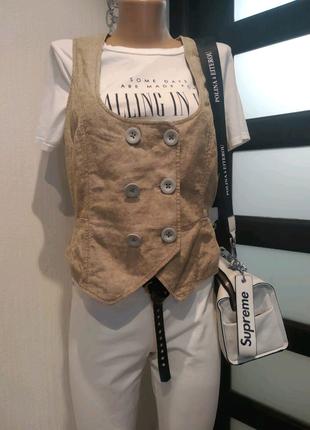 Лен хлопок бежевая блуза жилетка кофта
