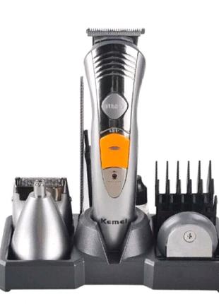 Машинка стайлер для стрижки волос бороды - бритва 7 в 1 Kemei
