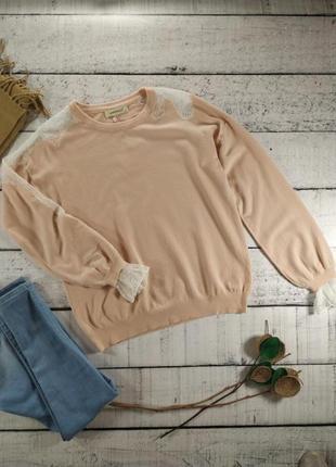 Джемпер тонкий пудровый свитер с кружевом