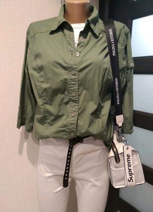 Стильная хлопковая блузка рубашка кофточка хаки