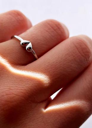 """Серебряное кольцо 925 пробы """"сердце"""" регулируемое"""