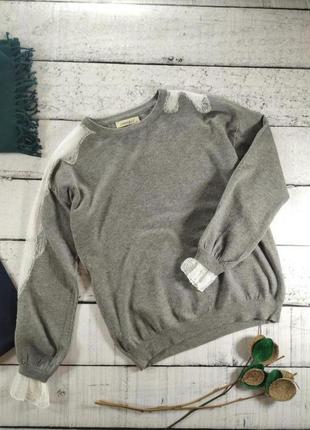 Джемпер тонкий серый свитер с кружевом