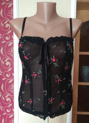 Сексі корсет чорний прозорий ,великий розмір 18-20\46-48