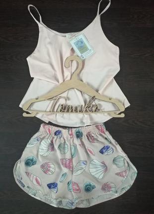 Женская шелковая пижама майка и шорты