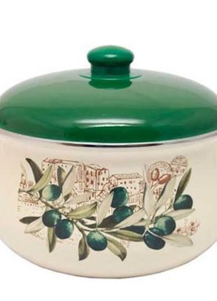 Кастрюли эмалированные  INFINITY Olive на 1,8, 2,4, 3,3. 4,8 литр
